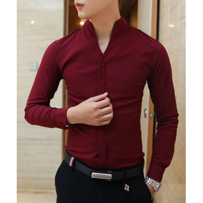 Stylish Stand Collar Special French Front Solid Color Slimming Mens Long Sleeves ShirtMens Shirts<br>Stylish Stand Collar Special French Front Solid Color Slimming Mens Long Sleeves Shirt<br><br>Shirts Type: Casual Shirts<br>Material: Cotton,Polyester<br>Sleeve Length: Full<br>Collar: Mandarin Collar<br>Weight: 0.226KG<br>Package Contents: 1 x Shirt