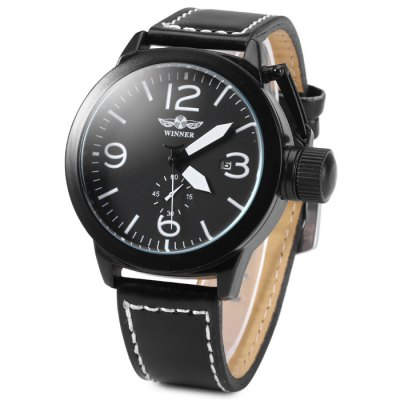 Winner 8035 Men Automatic Mechanical Watch with Leather Band Date Function