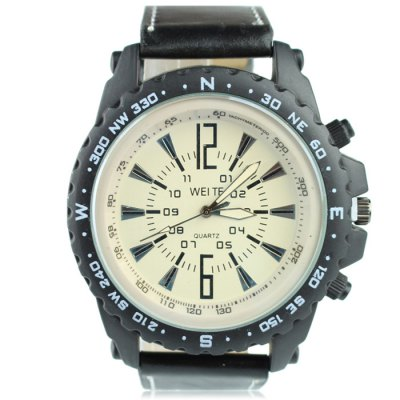 Weite Double Scales Men Quartz Watch with Leather Strap