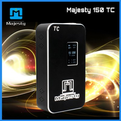 Original Majesty 150W TC VW Box ModTemperature Control Mods<br>Original Majesty 150W TC VW Box Mod<br><br>Type: Electronic Cigarettes Accessories<br>Accessories type: MOD<br>Mod: Temperature Control Mod, VV/VW Mod<br>APV Mod Wattage: 150W<br>Voltage Range: 0-8.5V<br>Temperature Control Range: 200-600 Fahrenheit degree<br>Features: OLED display<br>Battery Form Factor: 18650<br>Battery Quantity: Two<br>Battery cover type: Magnetic<br>Compatible with: 0.1-5.0 ohm atomizer<br>Material: Aluminum Alloy<br>Available Color: Black, Gold<br>Product weight  : 0.360 kg<br>Package weight   : 0.580 kg<br>Product size (L x W x H)  : 10.3 x 5.6 x 2.6 cm / 4.05 x 2.20 x 1.02 inches<br>Package size (L x W x H)  : 12.7 x 8.2 x 4.8 cm / 4.99 x 3.22 x 1.89 inches<br>Package Contents: 1 x MOD, 1 x English Manual, 1 x eGo connector, 1 x Srewdriver, 2 x Screw, 4 x Magnet, 1 x Package Box