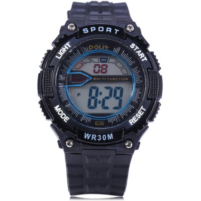 Polit 636 LED Sports WatchSports Watches<br>Polit 636 LED Sports Watch<br><br>Brand: Polit<br>People: Male table<br>Watch style: Outdoor Sports, LED, Fashion&amp;Casual<br>Available color: Yellow, Black, Red, Blue<br>Shape of the dial: Round<br>Movement type: Digital watch<br>Display type: Digital<br>Hour formats: 12/24 Hour<br>Case material: PC<br>Band material: Rubber<br>Clasp type: Pin buckle<br>Special features: Stopwatch, Day, Date, Alarm clock<br>Water Resistance: 30 meters<br>The dial thickness: 1.5 cm / 0.59 inches<br>The dial diameter: 4.2 cm / 1.65 inches<br>The band width: 2.0 cm / 0.79 inches<br>Wearable Length:: 14 - 20.5 cm / 5.51 - 8.07 inches<br>Product weight: 0.041 kg<br>Package weight: 0.091 kg<br>Product size (L x W x H) : 23.5 x 4.2 x 1.5 cm / 9.24 x 1.65 x 0.59 inches<br>Package size (L x W x H): 24.5 x 5.2 x 2.5 cm / 9.63 x 2.04 x 0.98 inches<br>Package contents: 1 x Polit 636 LED Watch, 1 x Chinese and English Manual