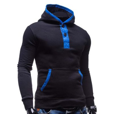Гаджет   Fashion Hooded Color Splicing Button Design Slimming Long Sleeve Cotton Blend Hoodie For Men Hoodies
