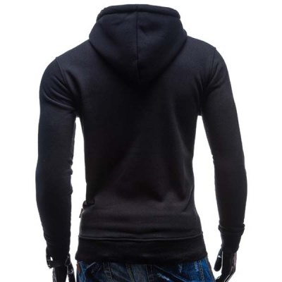 Фотография Trendy Hooded Double Breasted Pocket Hemming Slimming Long Sleeve Cotton Blend Hoodie For Men
