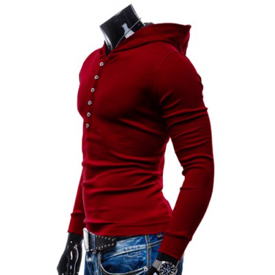 Гаджет   Stylish Hooded Simple Solid Color Buttons Design Slimming Long Sleeve Polyester Hoodie For Men Hoodies