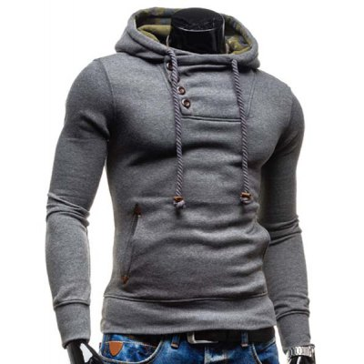 Гаджет   Trendy Hooded Oblique Button Patched Splicing Slimming Long Sleeve Cotton Blend Hoodie For Men Hoodies