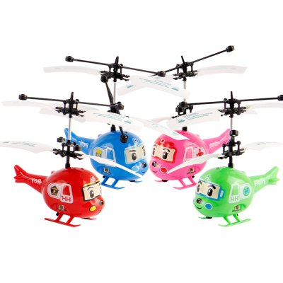Гаджет   SJ002 Mini Helicopter Hand Induction Lightweight Cartoon Appearance LED Light Kids Toy
