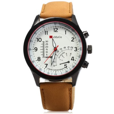 Womage Decorative Sub-dials Male Quartz Watch with Nubuck Leather Strap