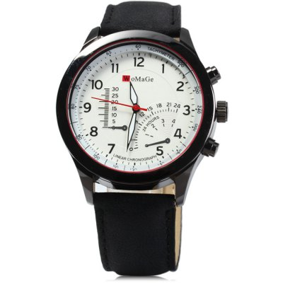 Гаджет   Womage Decorative Sub-dials Male Quartz Watch with Nubuck Leather Strap Men