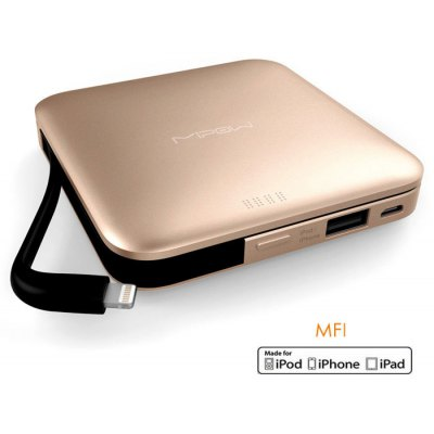 MIPOW SPL09 MFI Certified 9000mAh Portable Mobile Power Bank Built-in 8 Pin Cable Battery Charger with Power Indicator Light