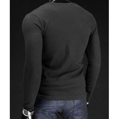 Гаджет   Trendy Slimming V-Neck Drawstring Faux Twinset Long Sleeve Polyester T-Shirt For Men Men