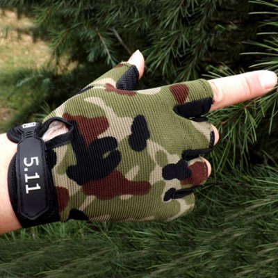 Pair of Stylish Numbers Shape Embellished Camouflage Pattern Fingerless Gloves For Men