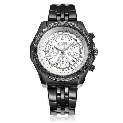 MEGIR 2007 Male Japan Quartz Watch - MEGIRMens Watches<br>MEGIR 2007 Male Japan Quartz Watch<br><br>Brand: MEGIR<br>Watches categories: Male table<br>Watch style: Business<br>Available color: Black, White, Silver<br>Movement type: Quartz watch<br>Shape of the dial: Round<br>Display type: Analog<br>Case material: Alloy<br>Band material: Stainless steel<br>Clasp type: Folding clasp with safety<br>Special features: Moving small three stitches, Date<br>Water Resistance: 30 meters<br>The dial thickness: 1.5 cm / 0.59 inches<br>The dial diameter: 5.0 cm / 1.97 inches<br>The band width: 2.0 cm / 0.79 inches<br>Product weight: 0.157 kg<br>Package weight: 0.207 kg<br>Product size (L x W x H): 26.5 x 5.0 x 1.5 cm / 10.41 x 1.97 x 0.59 inches<br>Package size (L x W x H): 27.5 x 6 x 2.5 cm / 10.81 x 2.36 x 0.98 inches<br>Package Contents: 1 x MEGIR 2007 Watch