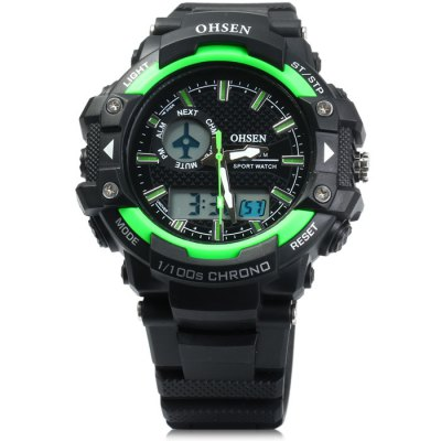 Гаджет   OHSEN AD1506 LED Sport Dual Movt Watch with Alarm Day Date Function Rubber Band Sports Watches