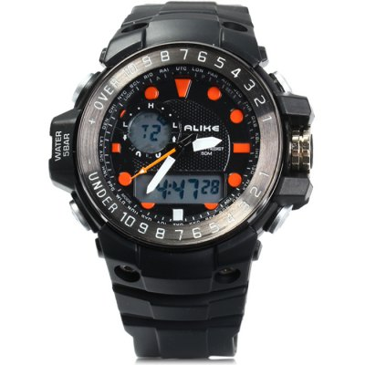 ФОТО Alike AK15112 LED Dual Movt Male Sport Watch with Water Resistance Rubber Strap