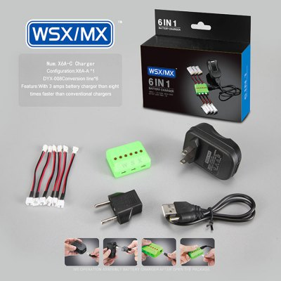 WSX / MX X6A - C 6 - Port Charger for Wltoys V911 3A US Plug with EU Adapter