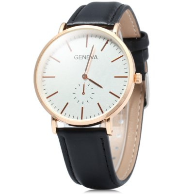 Geneva Decorative Sub-dial Male Quartz Watch with Leather Band