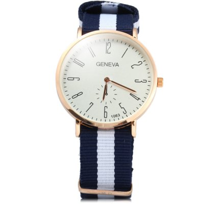 Geneva 1063 Stripes Canvas Band Male Quartz Watch with Decorative Sub-dial - GenevaMens Watches<br>Geneva 1063 Stripes Canvas Band Male Quartz Watch with Decorative Sub-dial<br><br>Brand: Geneva<br>Watches categories: Male table<br>Watch style: Fashion<br>Watch color: Red and White and Blue, Red with Black, Red with Blue, Blue and White<br>Movement type: Quartz watch<br>Shape of the dial: Round<br>Display type: Analog<br>Case material: Stainless steel<br>Band material: Canvas<br>Clasp type: Pin buckle<br>Special features: Decorating small sub-dials<br>The dial thickness: 1 cm / 0.39 inches<br>The dial diameter: 4 cm / 1.57 inches<br>The band width: 2 cm / 0.79 inches<br>Wearable Length:: 16 - 24.5 cm / 6.3 - 9.7 inches<br>Product weight: 0.037 kg<br>Package weight: 0.087 kg<br>Product size (L x W x H): 26.5 x 4 x 1 cm / 10.41 x 1.57 x 0.39 inches<br>Package size (L x W x H): 27.5 x 5 x 2 cm / 10.81 x 1.97 x 0.79 inches<br>Package Contents: 1 x Geneva 1063 Watch