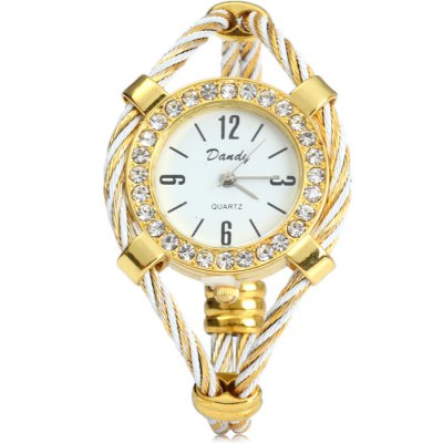 Dandy 221 Steel Wire Strap Diamond Watch Female Quartz BraceletWomens Watches<br>Dandy 221 Steel Wire Strap Diamond Watch Female Quartz Bracelet<br><br>Brand: Dandy<br>Watches categories: Female table<br>Available color: White and Black, Black, White, Blue<br>Style: Fashion&amp;Casual, Bracelet<br>Movement type: Quartz watch<br>Shape of the dial: Round<br>Display type: Analog<br>Case material: Stainless steel<br>Band material: Steel<br>Clasp type: Conjoined clasp<br>The dial thickness: 0.6 cm / 0.24 inches<br>The dial diameter: 3.3 cm / 1.3 inches<br>Product weight: 0.028 kg<br>Package weight: 0.078 kg<br>Product size (L x W x H) : 6 x 3.3 x 0.6 cm / 2.36 x 1.30 x 0.24 inches<br>Package size (L x W x H): 7 x 4.3 x 1.6 cm / 2.75 x 1.69 x 0.63 inches<br>Package contents: 1 x Dandy 221 Watch