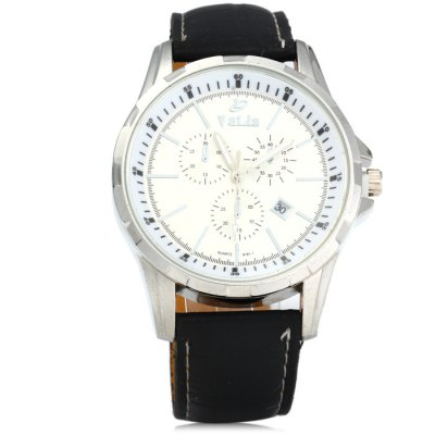 Valia 8191 - 1 Date Function Male Quartz Watch with Leather BandMens Watches<br>Valia 8191 - 1 Date Function Male Quartz Watch with Leather Band<br><br>Brand: Valia<br>Watches categories: Male table<br>Watch style: Fashion<br>Available color: White, Brown, Black<br>Movement type: Quartz watch<br>Shape of the dial: Round<br>Display type: Analog<br>Case material: Stainless steel<br>Band material: Leather<br>Clasp type: Pin buckle<br>Special features: Date, Decorating small sub-dials<br>The dial thickness: 1.0 cm / 0.4 inches<br>The dial diameter: 4.5 cm / 1.77 inches<br>The band width: 2.0 cm / 0.8 inches<br>Wearable Length:: 17 -22 / 6.69 - 8.66 inches<br>Product weight: 0.055 kg<br>Package weight: 0.105 kg<br>Product size (L x W x H): 26.5 x 4.5 x 1 cm / 10.41 x 1.77 x 0.39 inches<br>Package size (L x W x H): 27.5 x 5.5 x 2 cm / 10.81 x 2.16 x 0.79 inches<br>Package Contents: 1 x Valia 8191 - 1 Watch