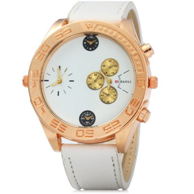 JUBAOLI 8003 Dual Movt Male Quartz Watch with Leather BandMens Watches<br>JUBAOLI 8003 Dual Movt Male Quartz Watch with Leather Band<br><br>Brand: Jubaoli<br>Watches categories: Male table<br>Watch style: Fashion<br>Available color: Orange, Yellow, Black, White, Red, Brown<br>Movement type: Quartz watch<br>Shape of the dial: Round<br>Display type: Analog<br>Case material: Stainless steel<br>Band material: Leather<br>Clasp type: Pin buckle<br>Special features: Decorating small sub-dials<br>The dial thickness: 1 cm / 0.39 inches<br>The dial diameter: 5 cm / 1.97 inches<br>The band width: 2.1 cm / 0.83 inches<br>Wearable Length:: 18 - 22 cm / 7.09 - 8.66 inches<br>Product weight: 0.062 kg<br>Package weight: 0.112 kg<br>Product size (L x W x H): 25.5 x 5 x 1 cm / 10.02 x 1.97 x 0.39 inches<br>Package size (L x W x H): 26.5 x 6 x 2 cm / 10.41 x 2.36 x 0.79 inches<br>Package Contents: 1 x JUBAOLI 8003 Watch