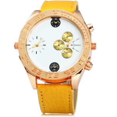 JUBAOLI 8003 Dual Movt Male Quartz Watch with Leather BandMens Watches<br>JUBAOLI 8003 Dual Movt Male Quartz Watch with Leather Band<br><br>Brand: Jubaoli<br>Watches categories: Male table<br>Watch style: Fashion<br>Available color: Yellow, Black, White, Red, Brown, Orange<br>Movement type: Quartz watch<br>Shape of the dial: Round<br>Display type: Analog<br>Case material: Stainless steel<br>Band material: Leather<br>Clasp type: Pin buckle<br>Special features: Decorating small sub-dials<br>The dial thickness: 1 cm / 0.39 inches<br>The dial diameter: 5 cm / 1.97 inches<br>The band width: 2.1 cm / 0.83 inches<br>Wearable Length:: 18 - 22 cm / 7.09 - 8.66 inches<br>Product weight: 0.062 kg<br>Package weight: 0.112 kg<br>Product size (L x W x H): 25.5 x 5 x 1 cm / 10.02 x 1.97 x 0.39 inches<br>Package size (L x W x H): 26.5 x 6 x 2 cm / 10.41 x 2.36 x 0.79 inches<br>Package Contents: 1 x JUBAOLI 8003 Watch