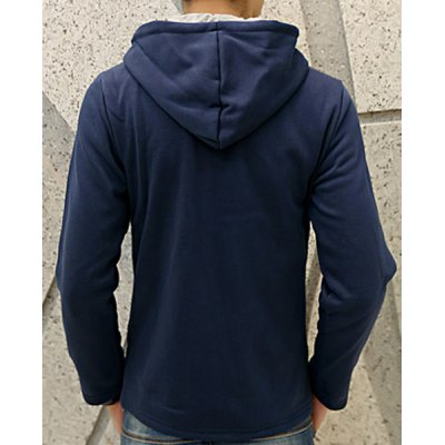 Гаджет   Slimming Hooded Zipper Embellished Color Block Men