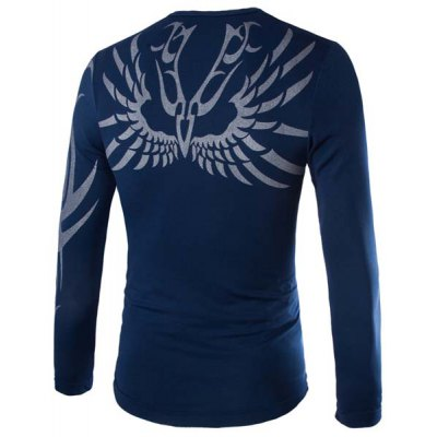 Гаджет   Stylish Slimming Round Neck Abstract Print Long Sleeve Cotton Blend Quick-Dry T-Shirt For Men Men