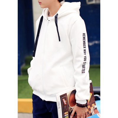 Slimming Hooded Letters Print Rib Spliced Long Sleeves Men