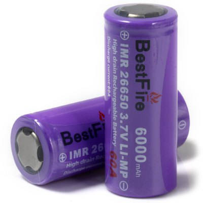 2 x BestFire IMR 26650 6000mAh 3.7V Li-ion Battery