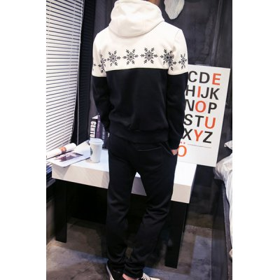Trendy Snowflake Print Color Block Splicing Slimming Mens Hoodie and Sweatpants Two-PieceMens Hoodies &amp; Sweatshirts<br>Trendy Snowflake Print Color Block Splicing Slimming Mens Hoodie and Sweatpants Two-Piece<br><br>Material: Polyester<br>Clothing Length: Regular<br>Sleeve Length: Full<br>Style: Fashion<br>Weight: 0.950KG<br>Package Contents: 1 x Hoodie  1 x Sweatpants