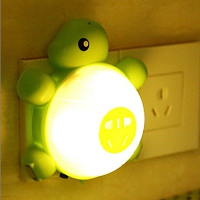 Super Cute Socket USB Charging Turtle LED Night Light with Light / Voice Control