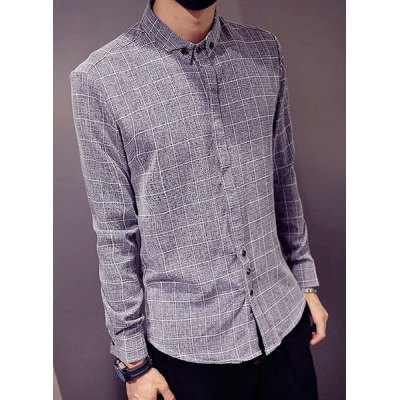 Гаджет   Special Top Fly Color Block Plaid Print Slimming Long Sleeves Men
