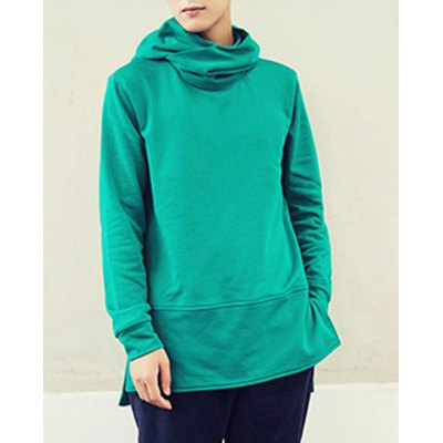 Гаджет   Fashion Loose Fit Solid Color Asymmetric Design Long Sleeve Cotton Blend Hoodie For Men Hoodies