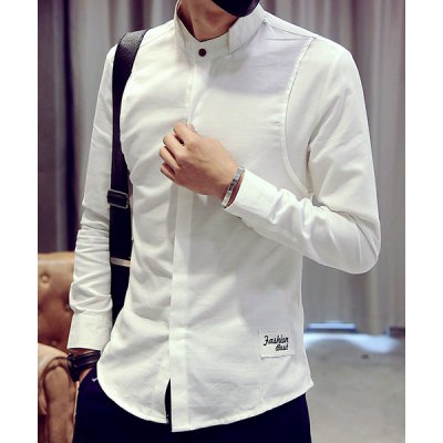 Гаджет   Slimming Stand Collar French Front Embroidered Patch Cotton+Linen Men