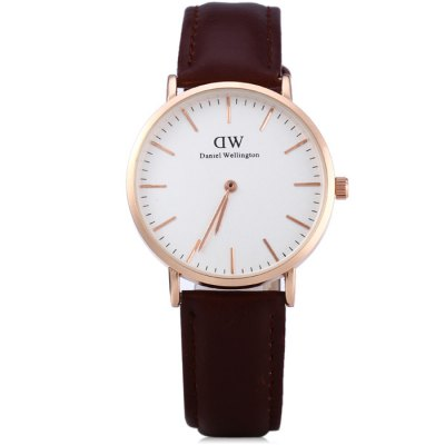 ФОТО DW Water Resistance Male Quartz Watch with Leather Band