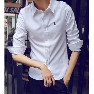 Гаджет   Simple Turn-down Collar Anchor Embroidered Solid Color Long Sleeves Men