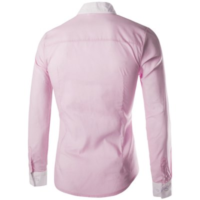 Гаджет   Fashion Slimming Shirt Collar Two Color Splicing Button Design Long Sleeve Polyester Shirt For Men Shirts