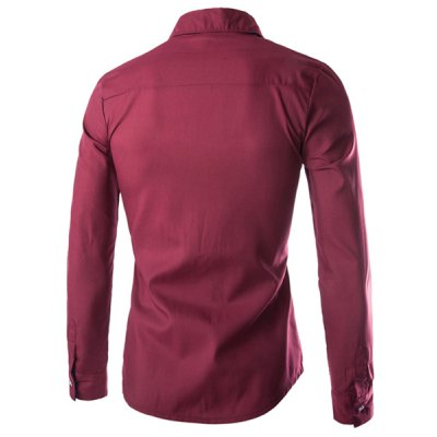 Гаджет   Trendy Slimming Shirt Collar Color Block Splicing Pocket Design Long Sleeve Polyester Shirt For Men Men