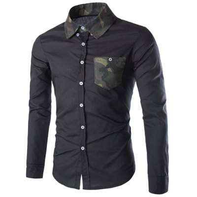 Color Block Camo Splicing Long Sleeve Slimming Black Shirt For Men
