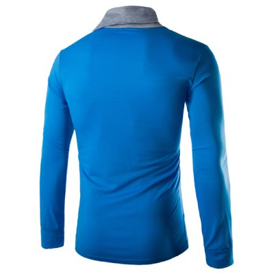 Гаджет   Trendy Slimming Piles Collar Button Design Color Block Splicing Long Sleeve Polyester T-Shirt For Men