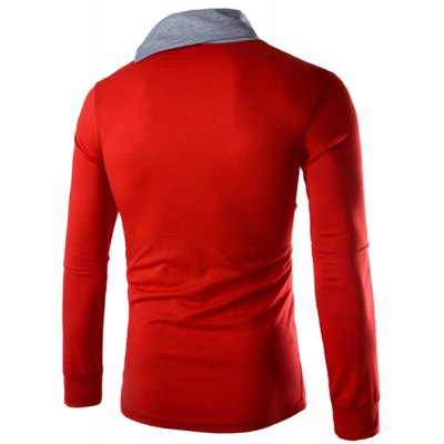 Trendy Slimming Piles Collar Button Design Color Block Splicing Long Sleeve Polyester T-Shirt For MenMens Long Sleeves Tees<br>Trendy Slimming Piles Collar Button Design Color Block Splicing Long Sleeve Polyester T-Shirt For Men<br><br>Material: Polyester<br>Sleeve Length: Full<br>Collar: Cowl Neck<br>Style: Fashion<br>Weight: 0.35KG<br>Package Contents: 1 x T-Shirt<br>Embellishment: Button<br>Pattern Type: Patchwork
