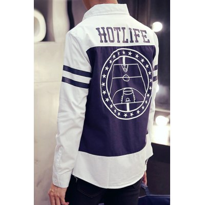 Гаджет   One Flap Pocket Basketball Court Letters Print Hit Color Shirt Collar Long Sleeves Men