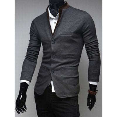 Гаджет   Trendy Slimming Stand Collar Patch Design Single-Breasted Long Sleeves Solid Color Men