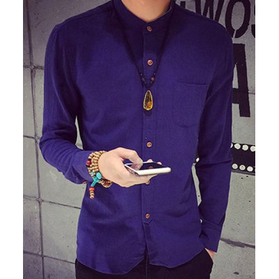 Гаджет   Slimming Simple Stand Collar Long Sleeve Pocket Men
