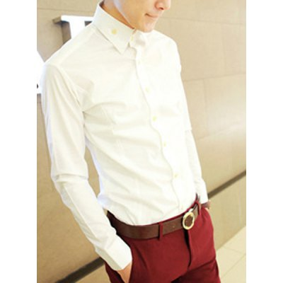 Гаджет   Simple Solid Color Multi-Button Slimming Long Sleeves Men