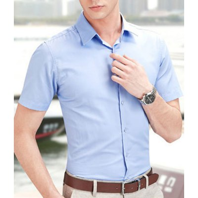 Fashion Slimming Shirt Collar Classic Solid Color Short Sleeve Cotton Blend Business Shirt For MenMens Shirts<br>Fashion Slimming Shirt Collar Classic Solid Color Short Sleeve Cotton Blend Business Shirt For Men<br><br>Shirts Type: Formal Shirts<br>Material: Cotton, Polyester<br>Sleeve Length: Short<br>Collar: Turn-down Collar<br>Weight: 0.283KG<br>Package Contents: 1 x Shirt