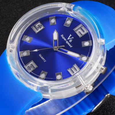 V6 V0250 Male Transparent Case Quartz Watch with Rubber BandMens Watches<br>V6 V0250 Male Transparent Case Quartz Watch with Rubber Band<br><br>Brand: V6<br>Watches categories: Male table<br>Watch style: Fashion<br>Available color: White, Blue, Green, Orange, Brown, Black<br>Movement type: Quartz watch<br>Shape of the dial: Round<br>Display type: Analog<br>Case material: PC<br>Band material: Rubber<br>Clasp type: Pin buckle<br>The dial thickness: 1.4 cm / 0.55 inches<br>The dial diameter: 4.7 cm / 1.85 inches<br>The band width: 2.8 cm / 1.1 inches<br>Product weight: 0.050 kg<br>Package weight: 0.10 kg<br>Product size (L x W x H): 25 x 4.7 x 1.4 cm / 9.83 x 1.85 x 0.55 inches<br>Package size (L x W x H): 26 x 5.7 x 2.4 cm / 10.22 x 2.24 x 0.94 inches<br>Package Contents: 1 x V6 V0250 Watch