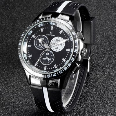 V6 V0258 Male Quartz Watch with Double Scales Rubber Band