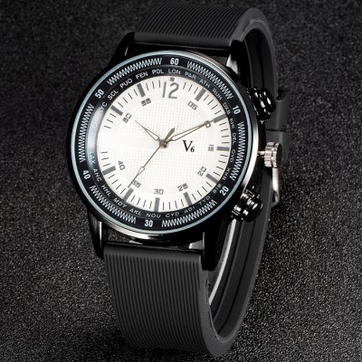 V6 V0269 Male Quartz Watch with Rubber Band