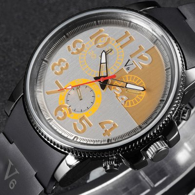 Гаджет   V6 V0271 Male Gear Bezel Quartz Watch with Rubber Band Men